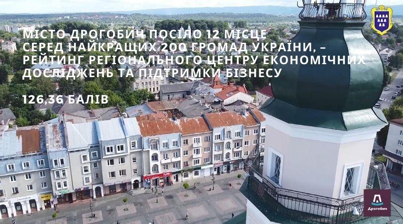 Місто Дрогобич посіло 12 місце серед найкращих 200 громад України, – рейтинг Регіонального центру економічних досліджень та підтримки бізнесу