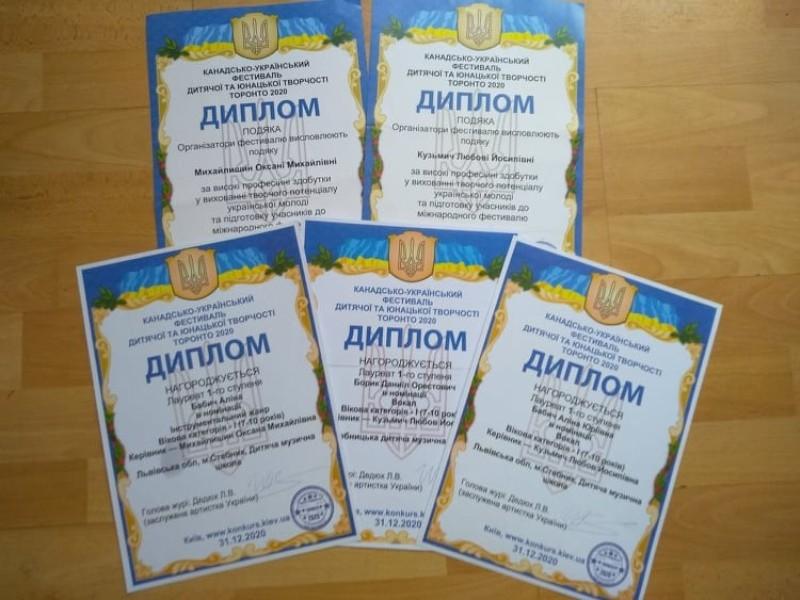 Радіємо перемогам учнів Стебницької дитячої музичної школи у Канадсько-Українському фестивалі дитячої та юнацької творчості Торонто – 2020